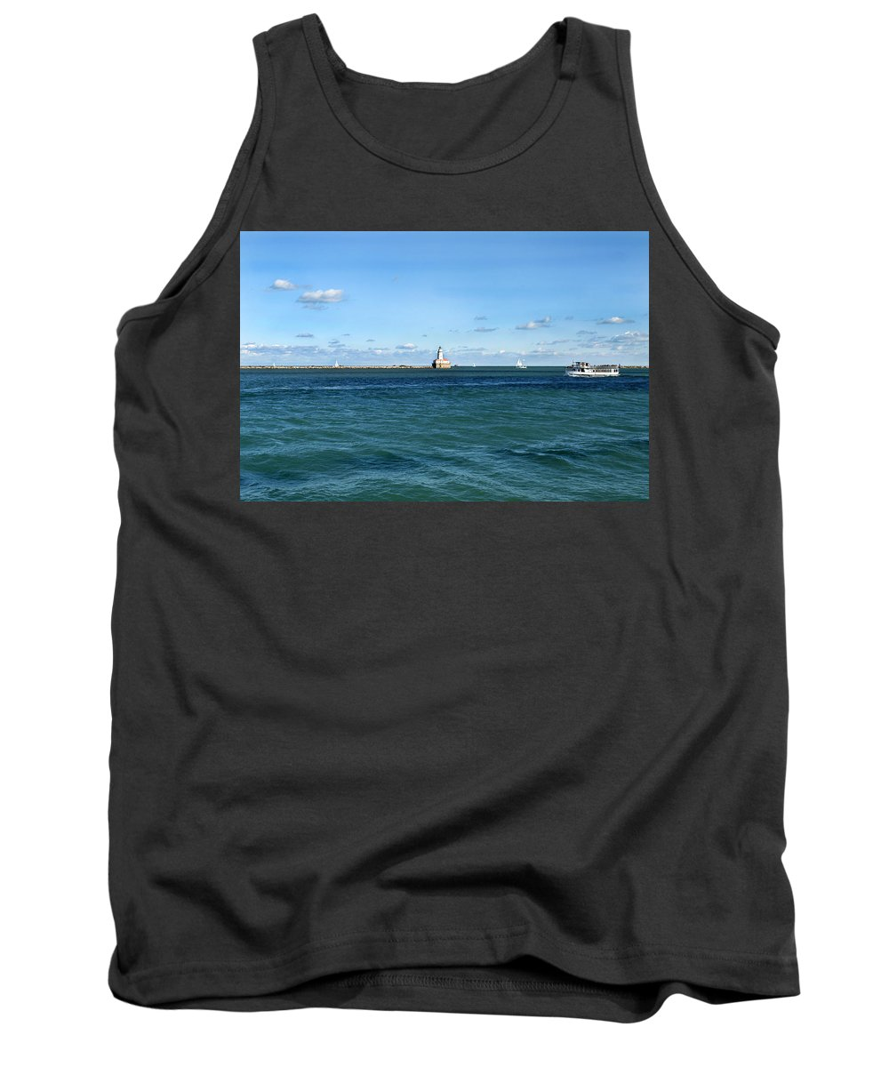 Horizontal Tank Top featuring the photograph Chicago Illinois Harbor Lighthouse And Little Lady Tour Boat Usa by Sally Rockefeller