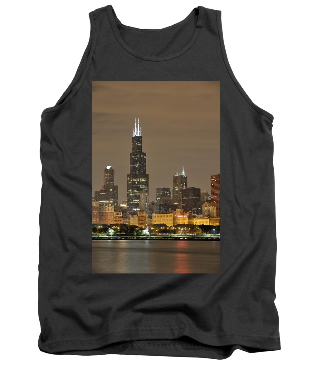 Chicago Skyline Tank Top featuring the photograph Chicago Skyline At Night by Sebastian Musial
