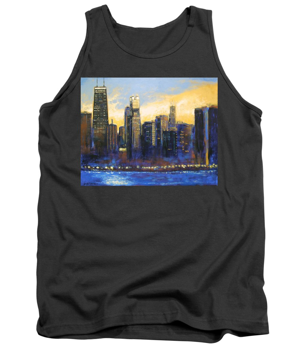 Chicago Skyline Tank Top featuring the painting Chicago Sunset Looking South by Joseph Catanzaro
