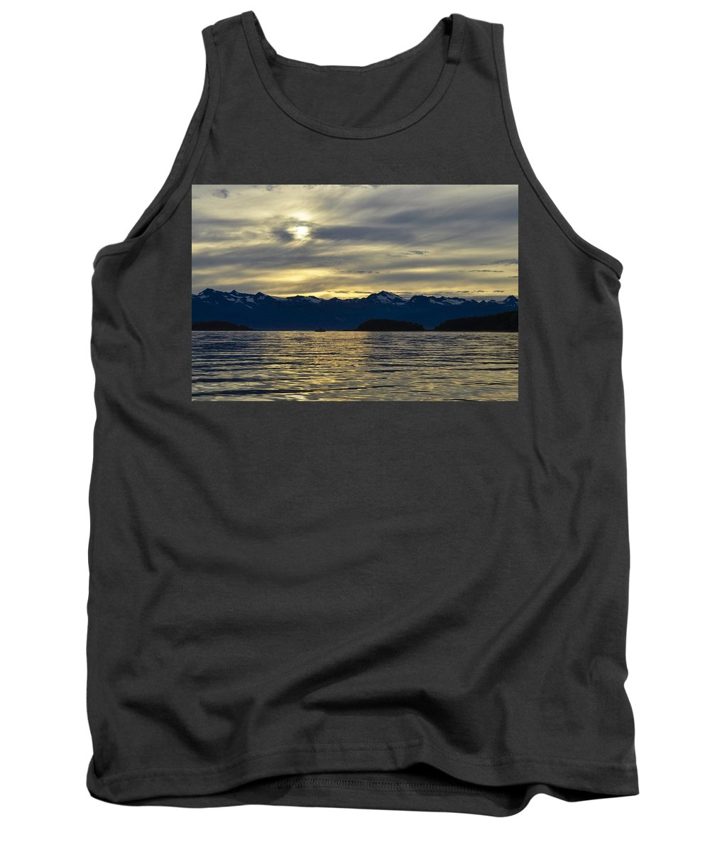 Setting Sun Tank Top featuring the photograph Chilkat Sunset by Cathy Mahnke