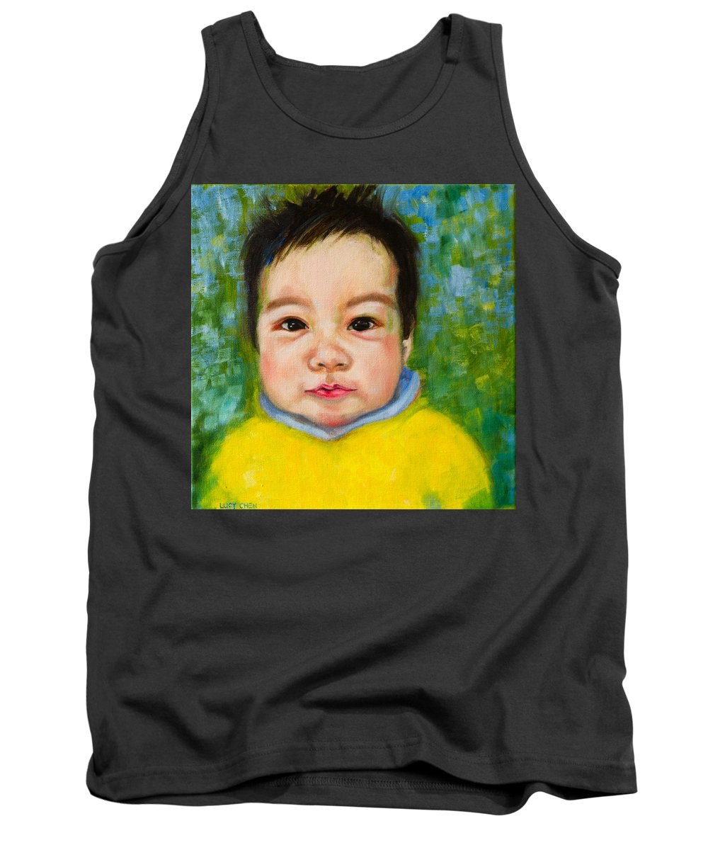 Child Portrait Tank Top featuring the painting Chloe 2 by Lucy Chen