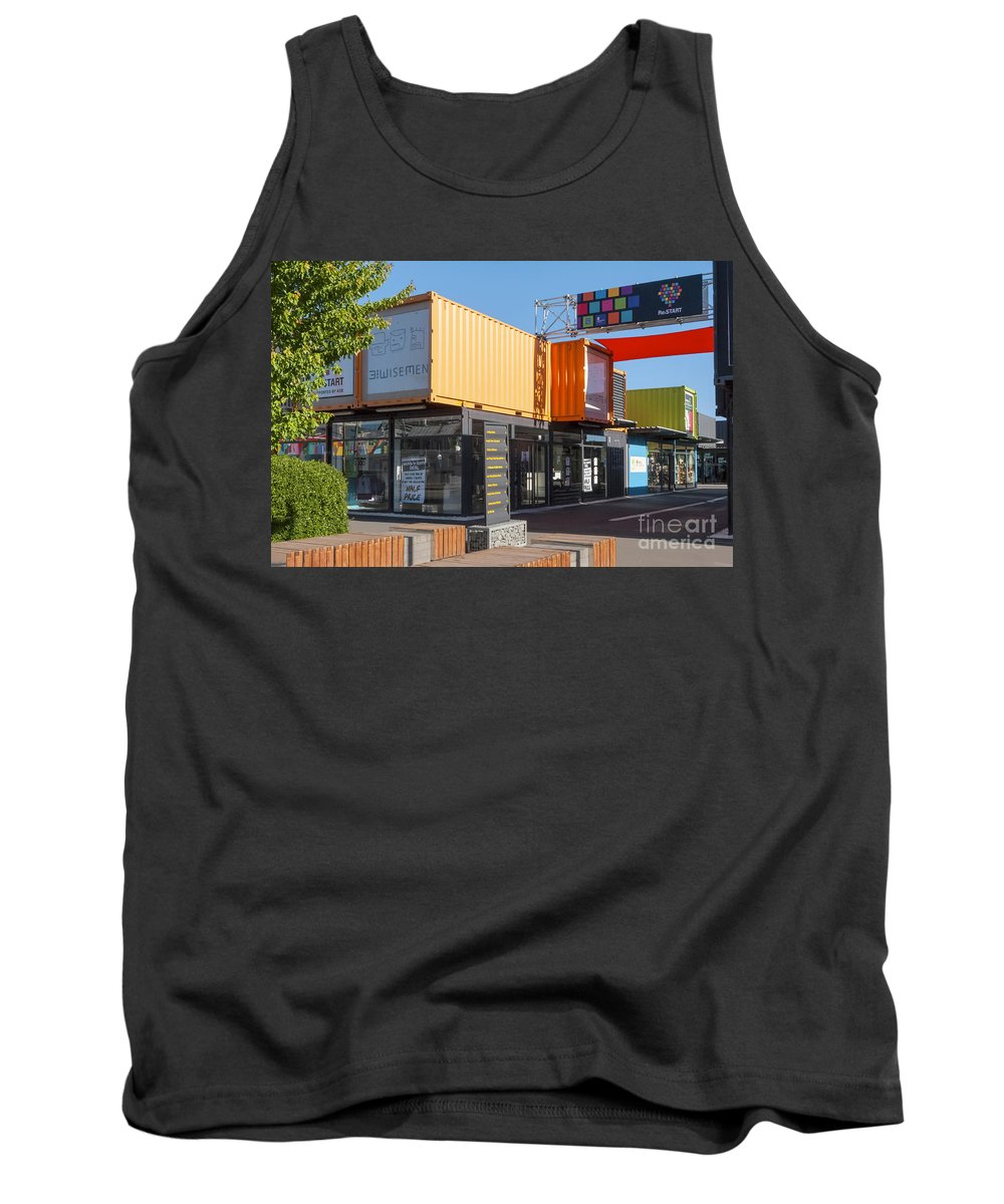 Christchurch New Zealand Earthquake Restart Container Store Stores Shop Shops Containers Structure Structures Architecture City Cities Cityscape Cityscapes Tank Top featuring the photograph Christchurch Restart Containers by Bob Phillips