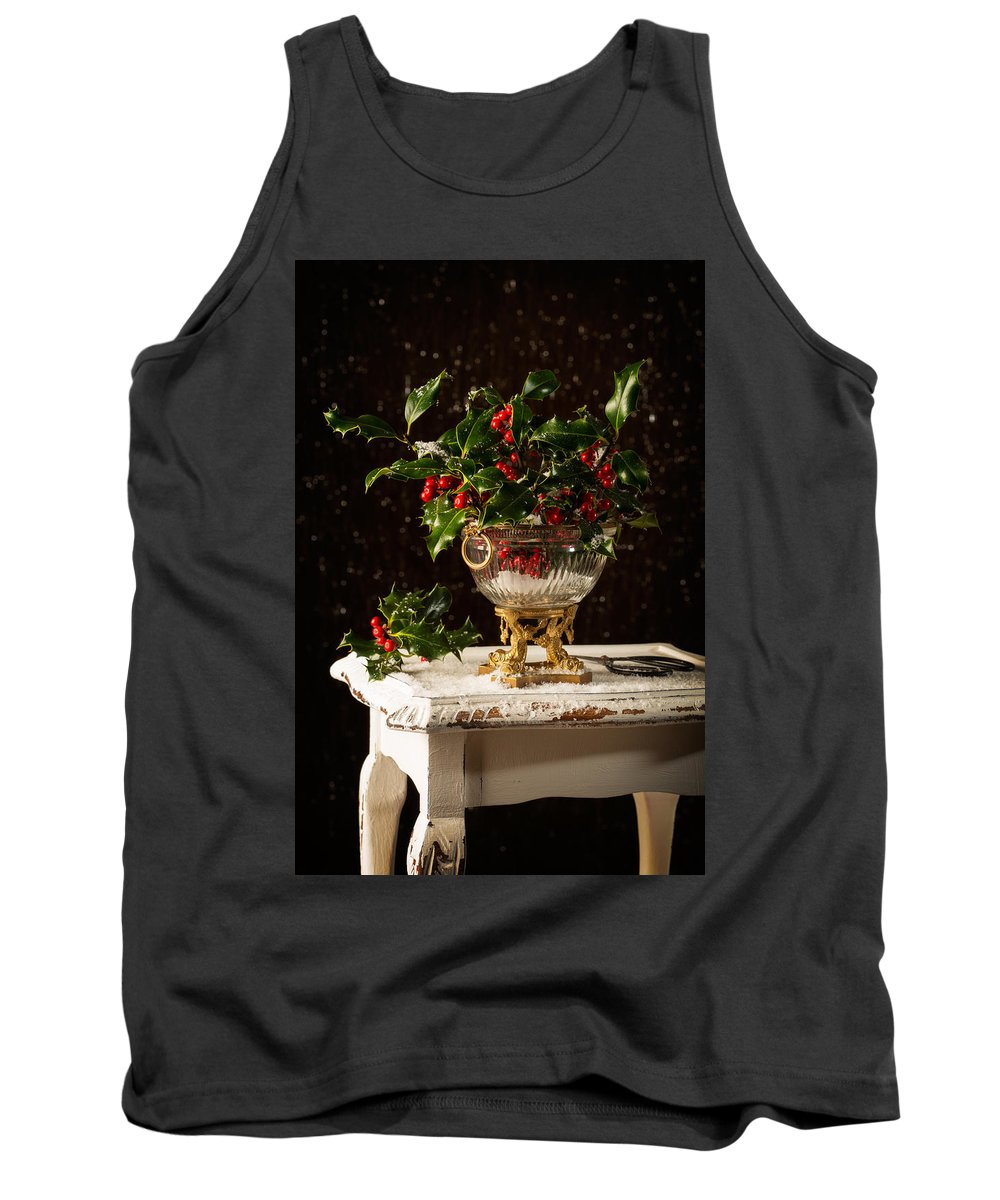 Holly Tank Top featuring the photograph Christmas Holly by Amanda Elwell
