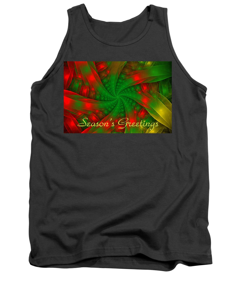 Holiday Card Tank Top featuring the digital art Christmas Ribbons by Sandy Keeton