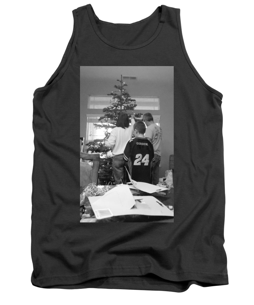 Family Tank Top featuring the photograph Christmas Tree Prep by Brent Dolliver
