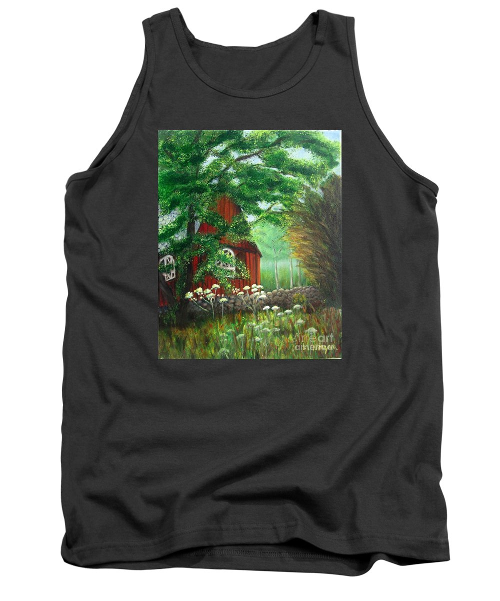 Church Tank Top featuring the painting Church In The Glen by Laurie Morgan