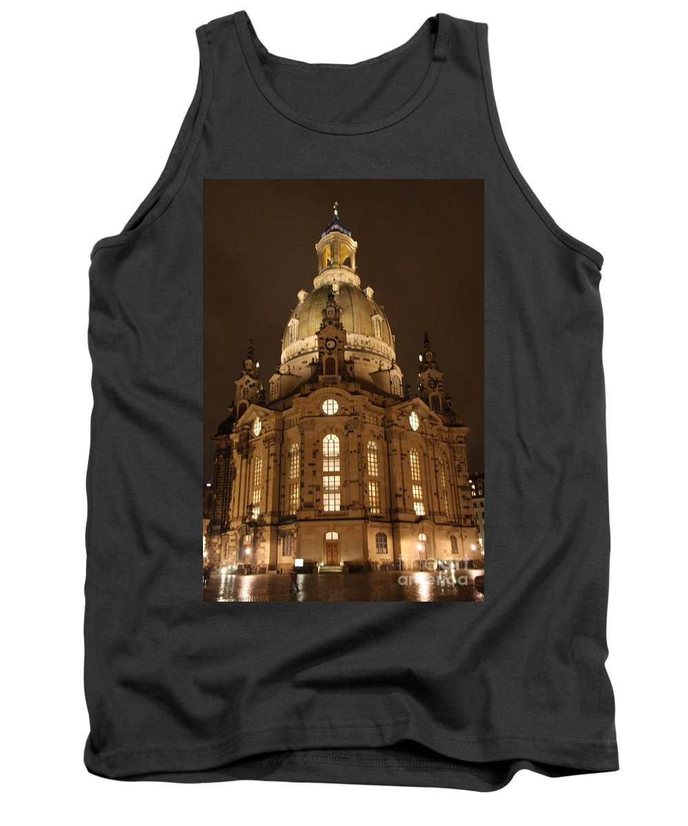 Church Tank Top featuring the photograph Church Of Our Lady At Night - Dresden - Germany by Christiane Schulze Art And Photography