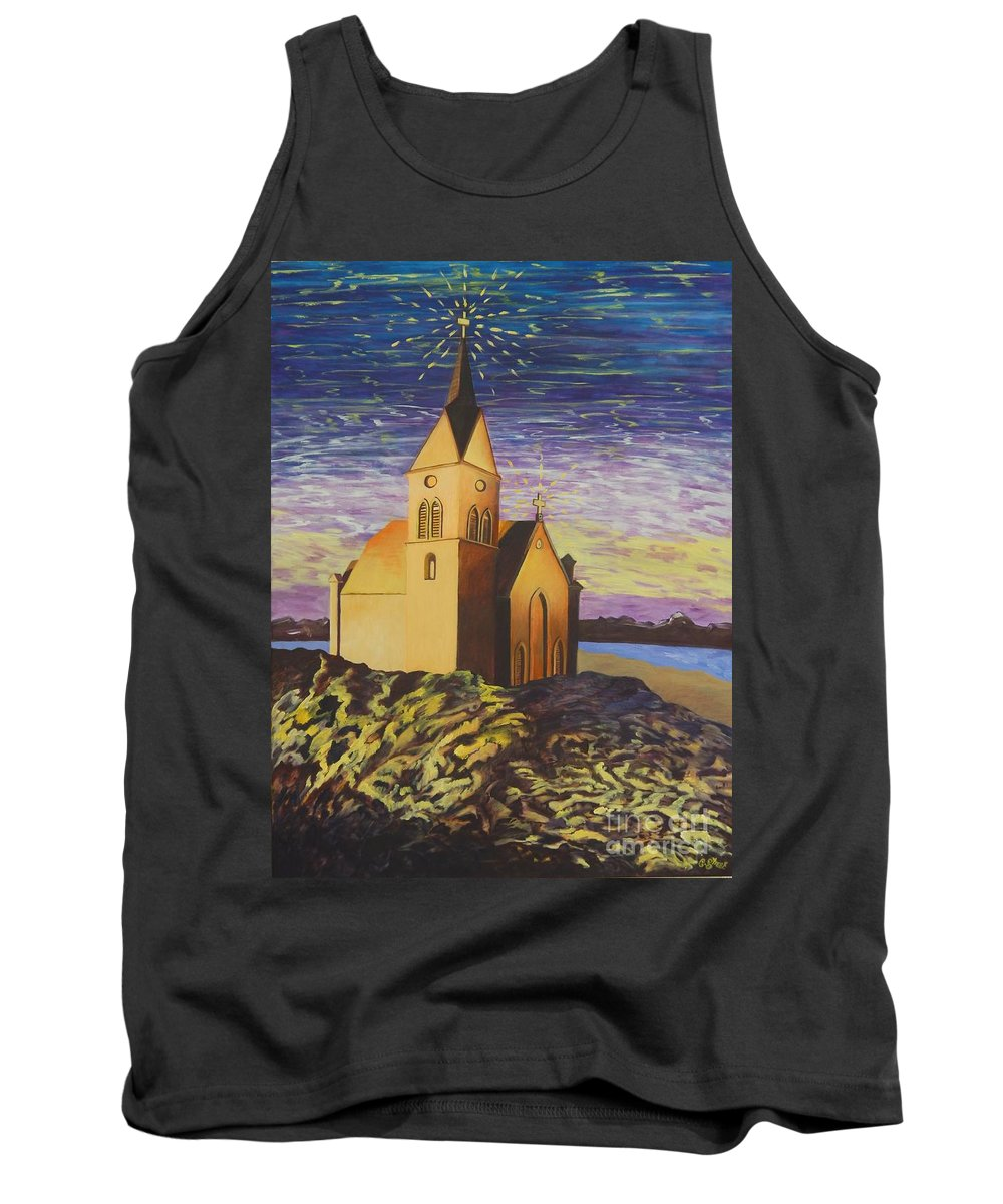 Church Tank Top featuring the painting Church On The Rocks. by Caroline Street