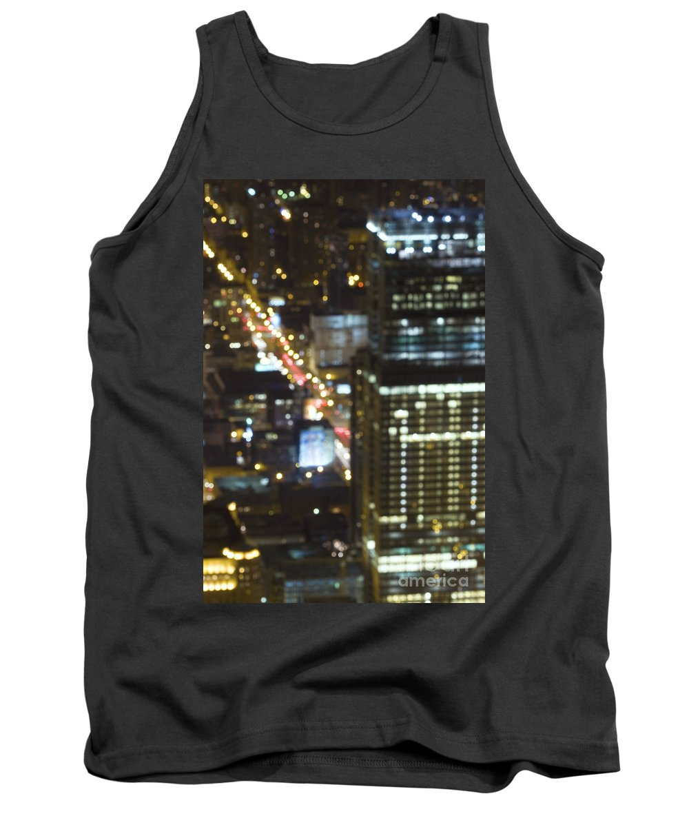 Architecture; Building; Chicago; City; Cityscape; District; Downtown; Lights; Night; Skyline; Skyscraper; Urban; Dark; Evening; United States; Illinois; Blurry; Defocused Tank Top featuring the photograph City Blur by Margie Hurwich