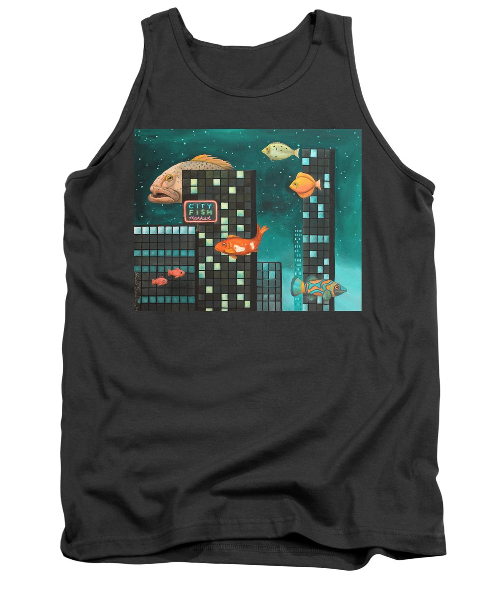 Fish Tank Top featuring the painting City Fish Edit 5 by Leah Saulnier The Painting Maniac