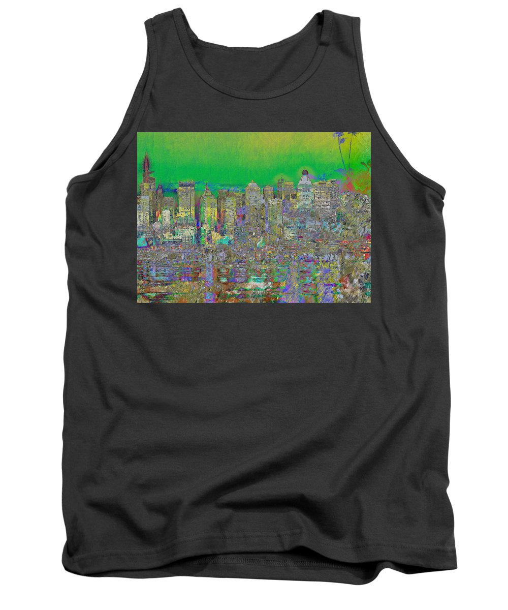 Landscape Tank Top featuring the digital art City Garden In Green by Mary Clanahan