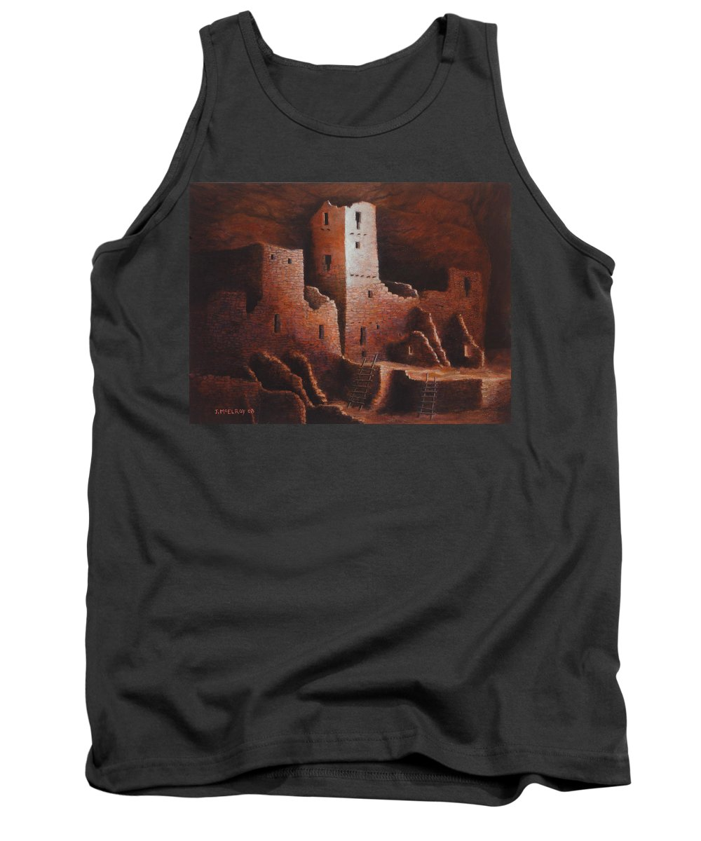 Anasazi Tank Top featuring the painting Cliff Palace by Jerry McElroy
