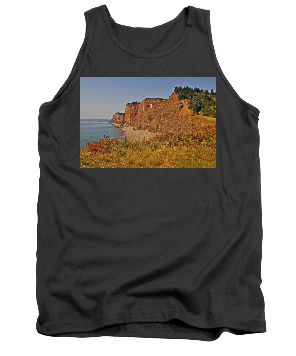 Cape D'or Cliffs From A Promontory Over Advocate Bay Tank Top featuring the photograph Cliffs Of Cape D'or From A Promontory Over Advocate Bay-ns by Ruth Hager