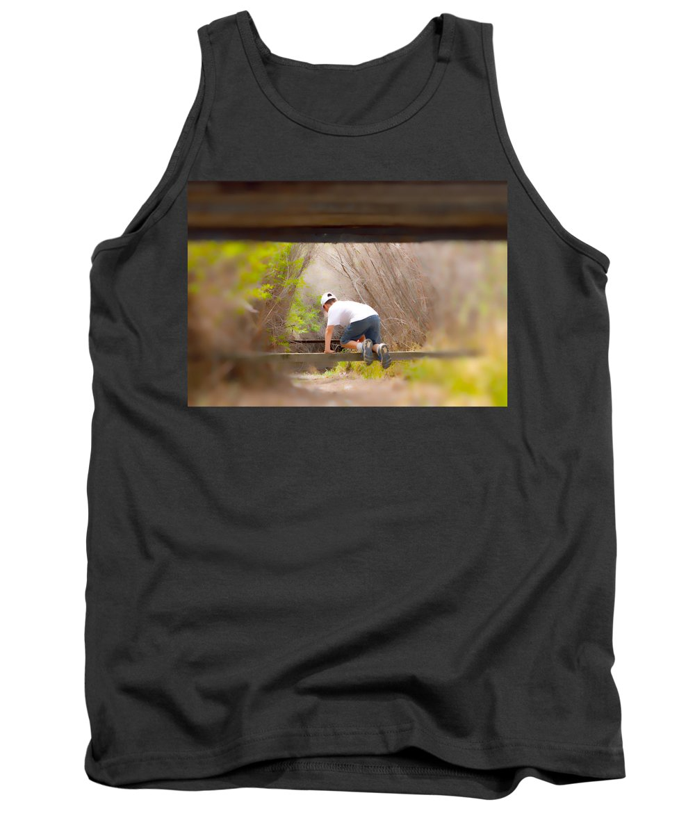 Boy Tank Top featuring the photograph Climb On Over by Brent Dolliver
