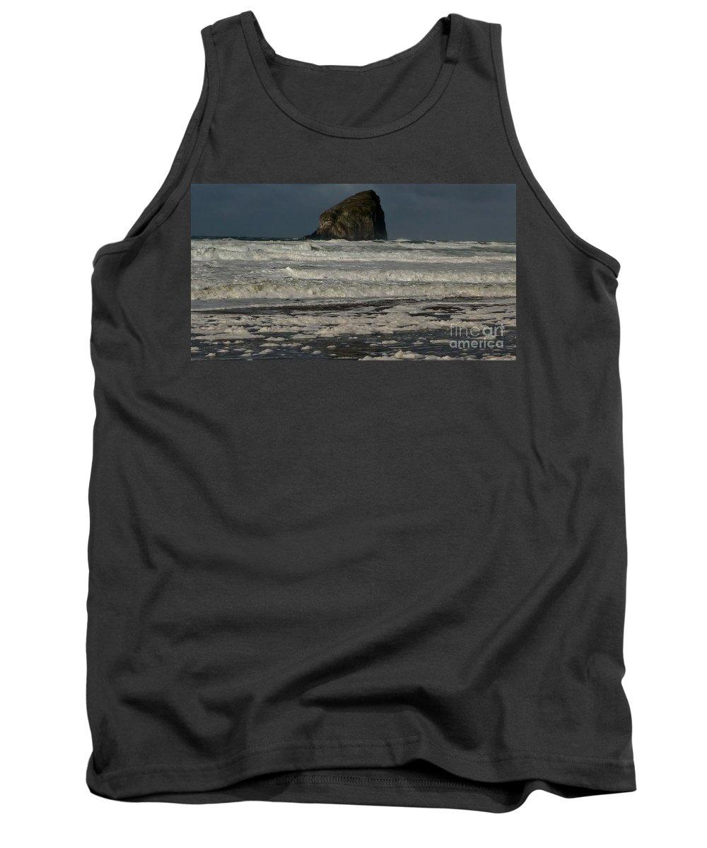 Waves Tank Top featuring the photograph Close Haystack Rock by Susan Garren