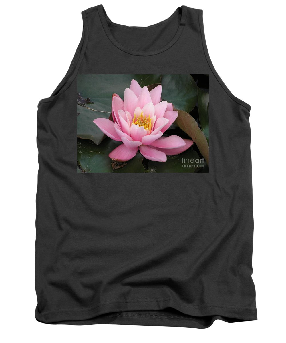 Lotus Tank Top featuring the photograph Closeup Of Pink Waterlily In A Pond by Kerstin Ivarsson