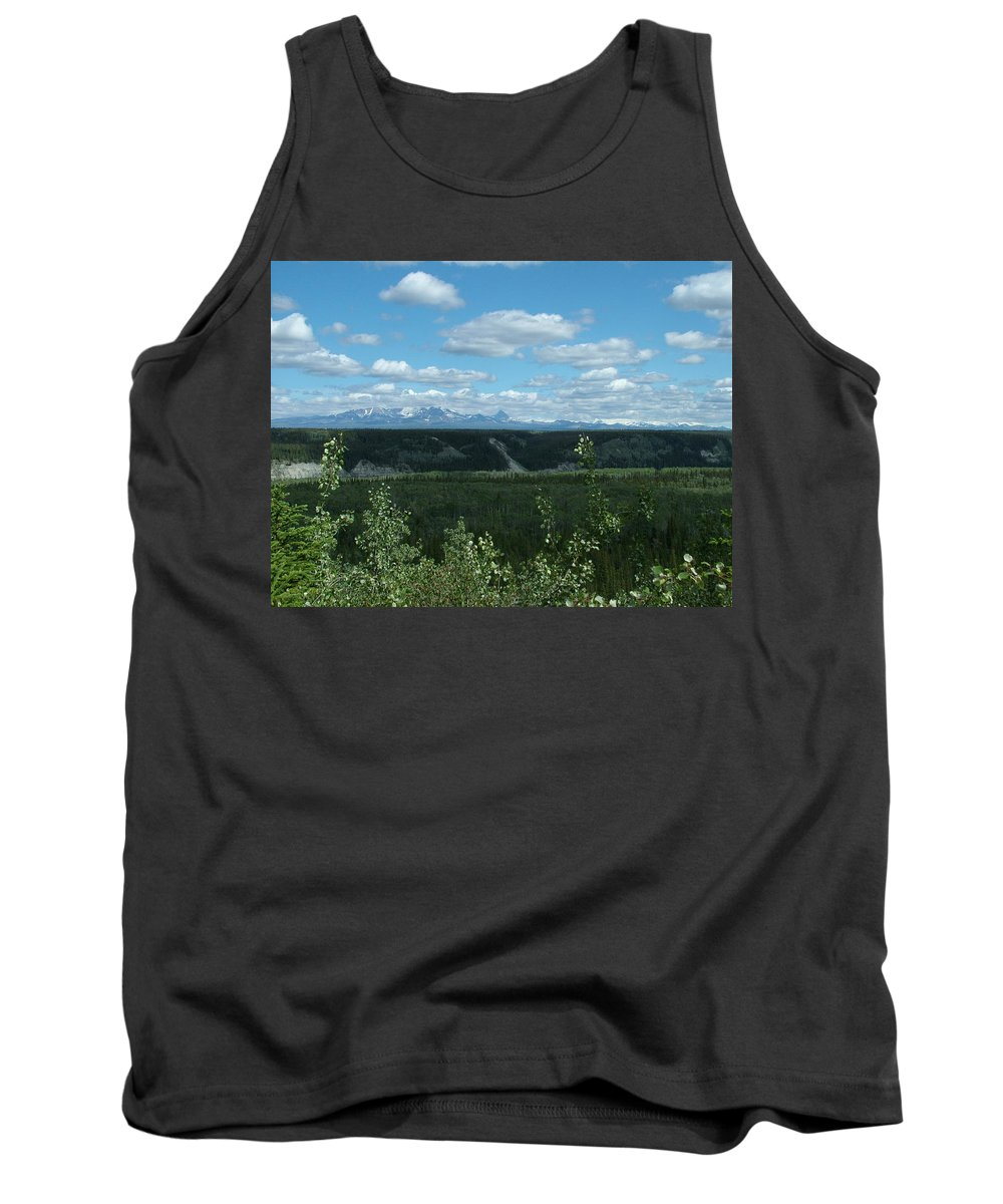 Cloud Tank Top featuring the photograph Clouds Mountains And Trees by Geoffrey McLean