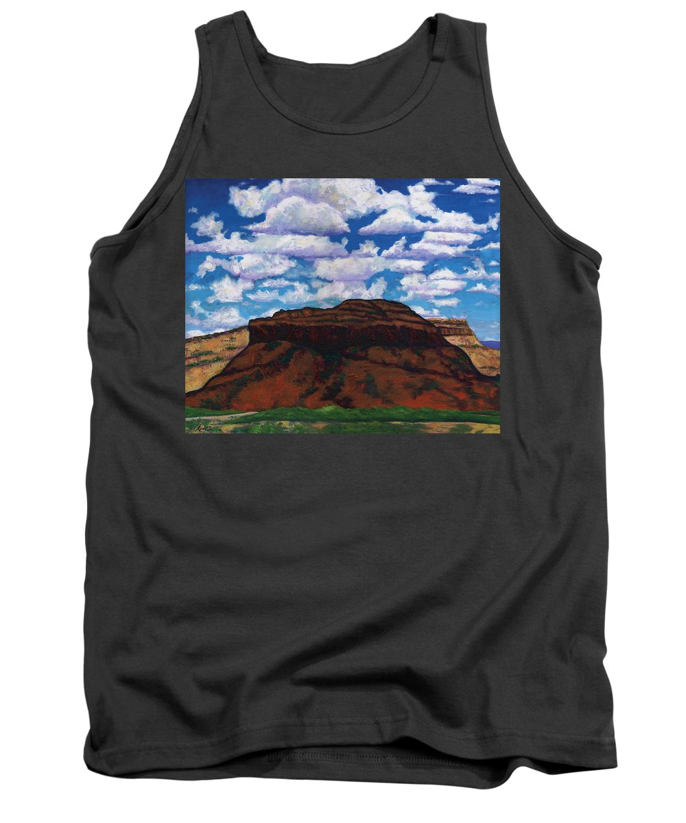 Lanscape Tank Top featuring the painting Clouds Over Red Mesa by Joe Triano