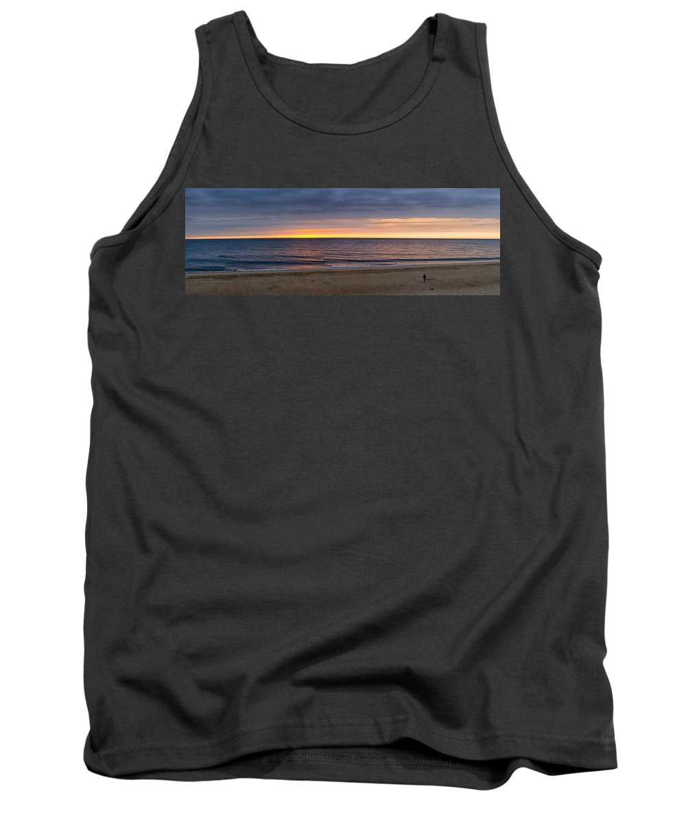 Sunrise Tank Top featuring the photograph Cloudy Sunrise On Nauset Beach by Brian Caldwell