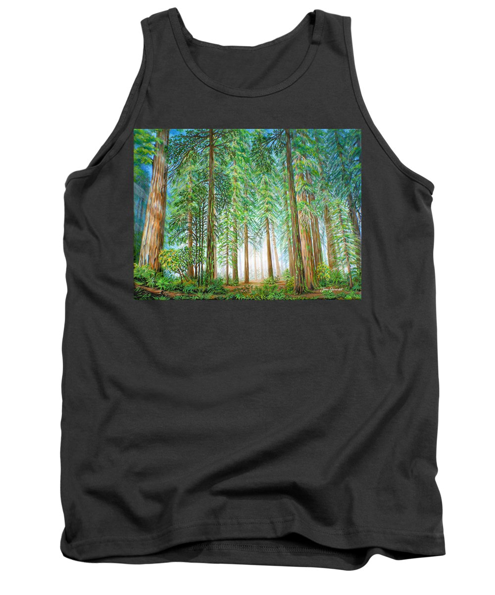 Trees Tank Top featuring the painting Coastal Redwoods by Jane Girardot