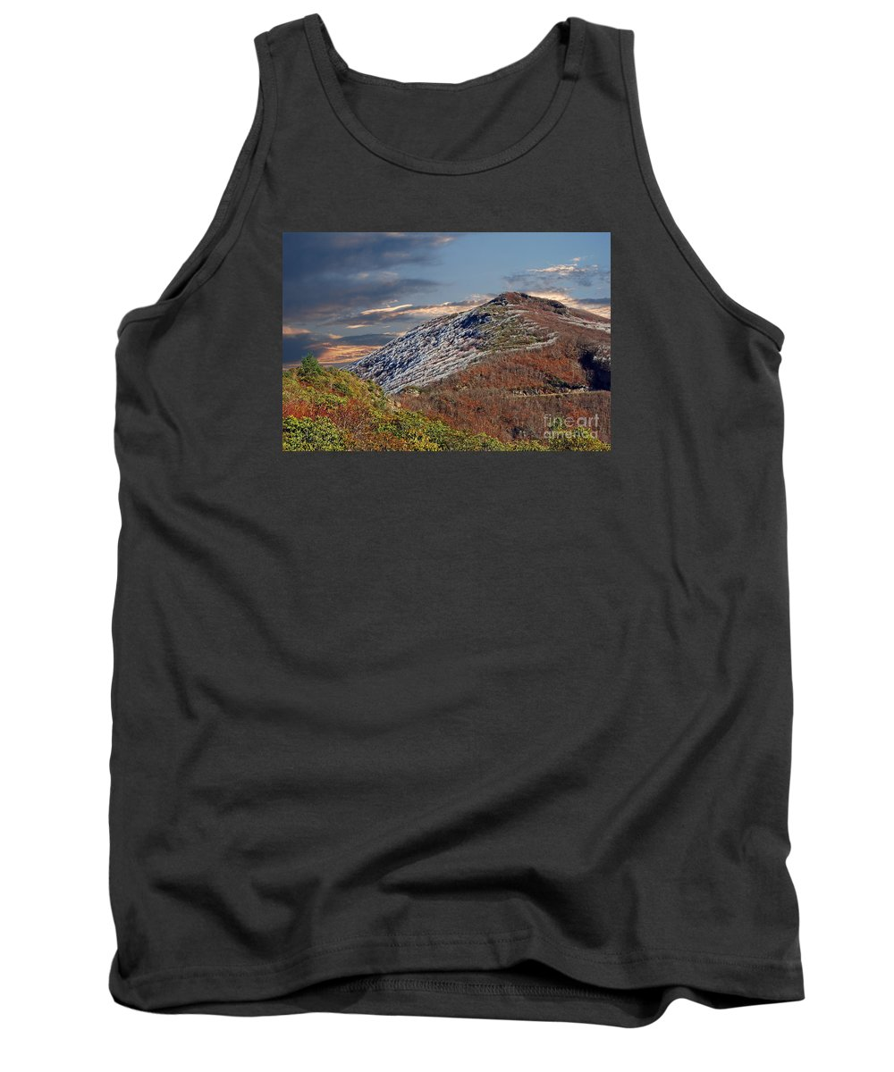 Scenic Tours Tank Top featuring the photograph Cold Day On The Blue Ridge by Skip Willits