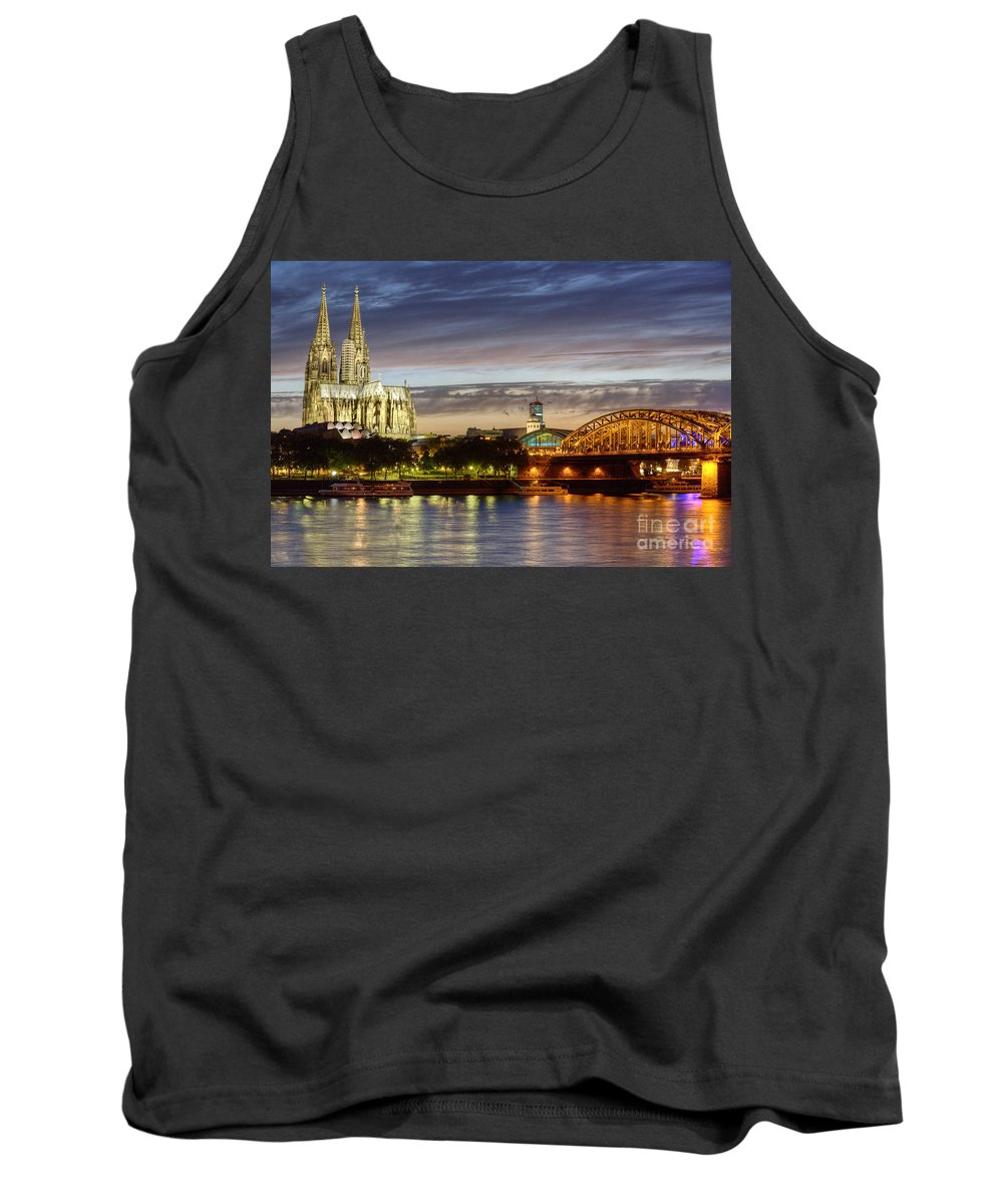 Cologne Tank Top featuring the photograph Cologne Cathedral With Rhine Riverside by Heiko Koehrer-Wagner