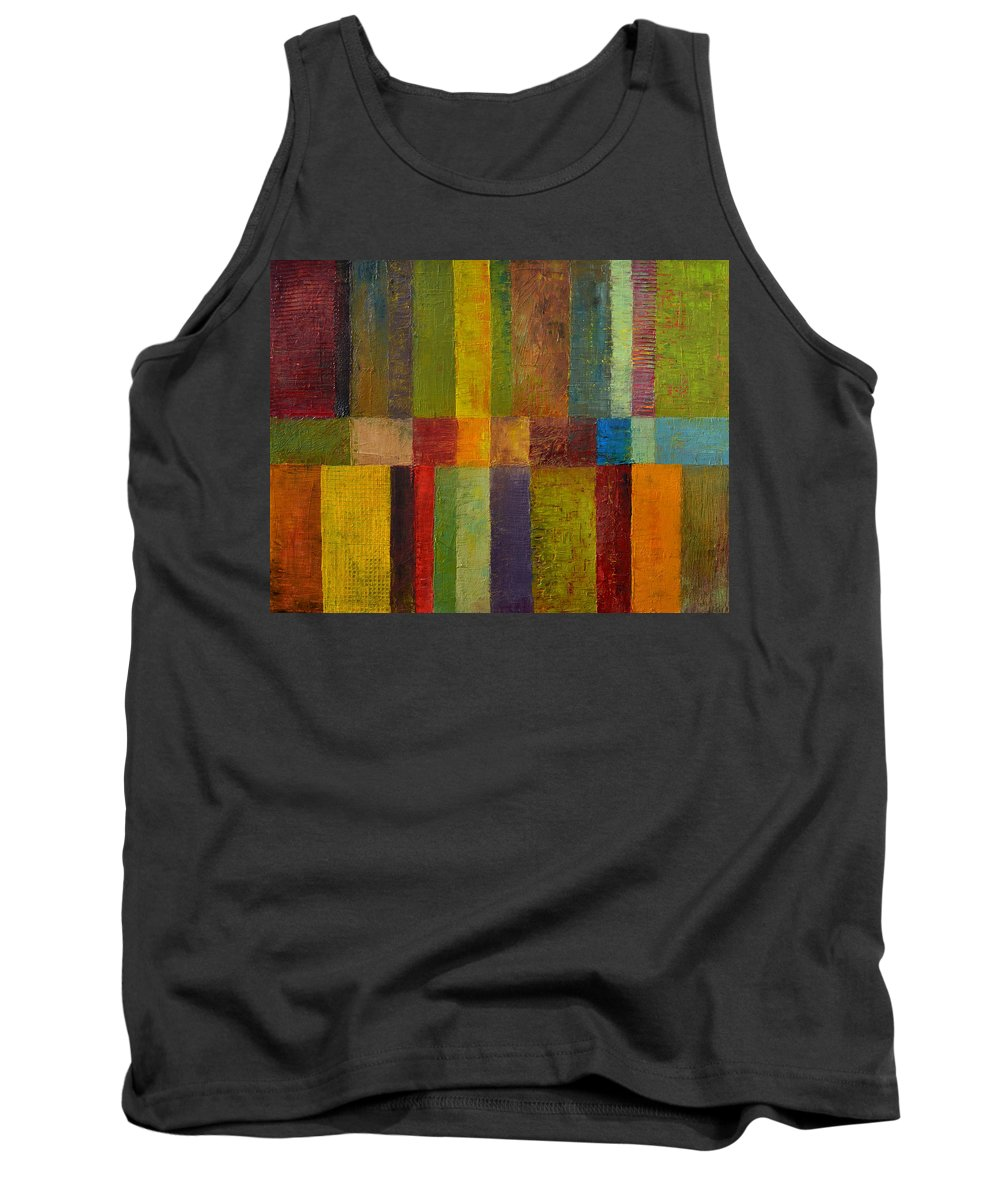 Abstract Tank Top featuring the painting Color Panel Abstract Ll by Michelle Calkins