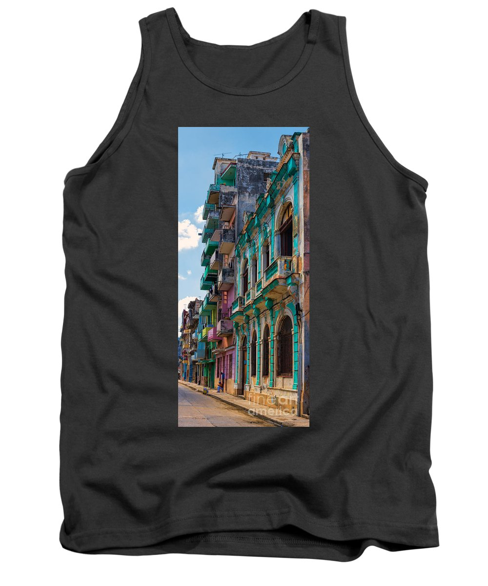 Cuba Tank Top featuring the photograph Colorful Buildings In Havana by Les Palenik