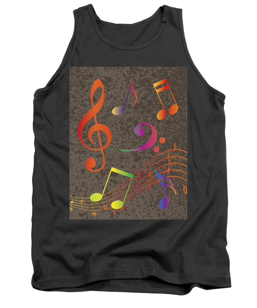 Musical Tank Top featuring the photograph Colorful Musical Notes On Textured Background Illustration by Jit Lim