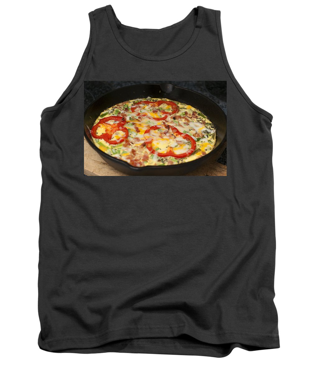 Egg Tank Top featuring the photograph Colorful Vegetable Fritatta by Donald Erickson