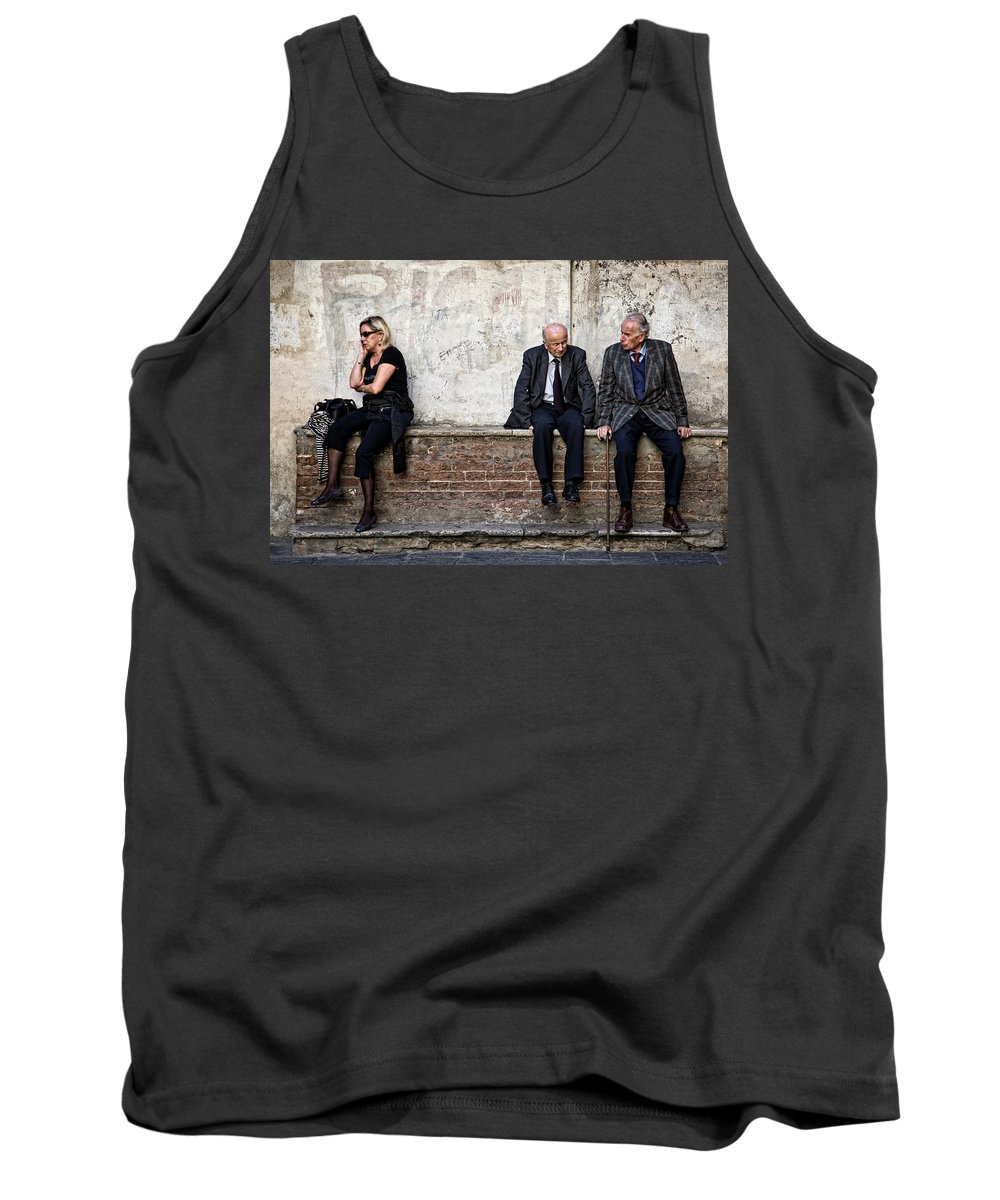 Street Photography Tank Top featuring the photograph Communication by Dave Bowman