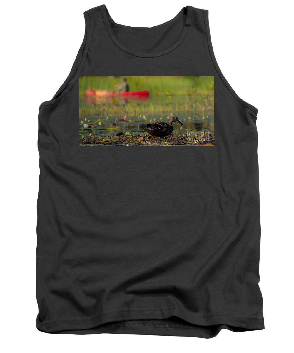 Pond Tank Top featuring the photograph Contemplating My Family by Amy S Klein