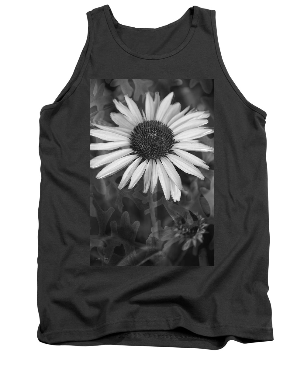 Cone Flower Tank Top featuring the photograph Coneflower And Dusty Miller Bw by Lesa Fine