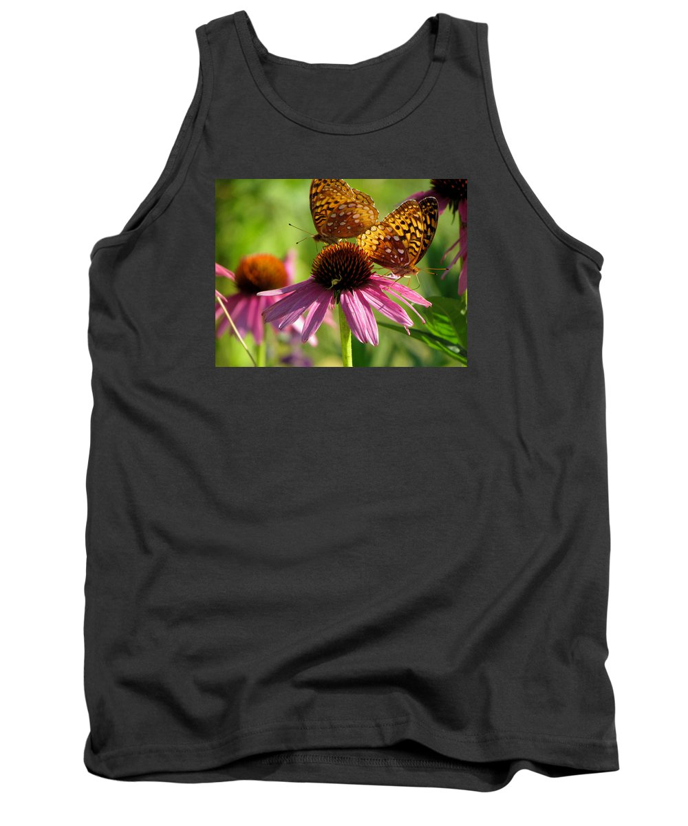 Coneflowers Tank Top featuring the photograph Coneflower Butterflies by David T Wilkinson