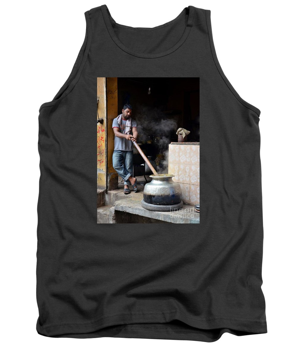 Breakfast Tank Top featuring the photograph Cooking Breakfast Early Morning Lahore Pakistan by Imran Ahmed