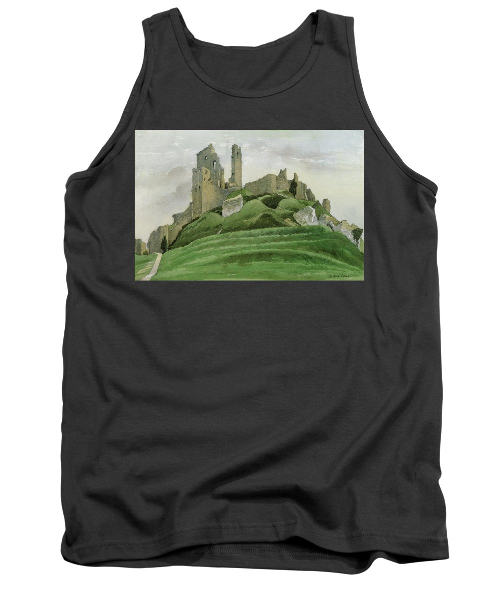 Ruin Tank Top featuring the drawing Corfe Castle by Osmund Caine