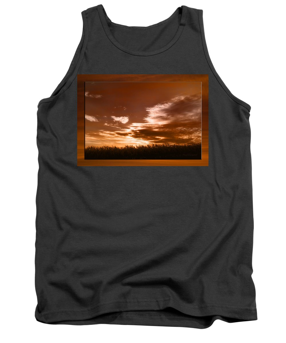 Corn Field Tank Top featuring the photograph Corn Field Silhouettes Textured by Thomas Woolworth