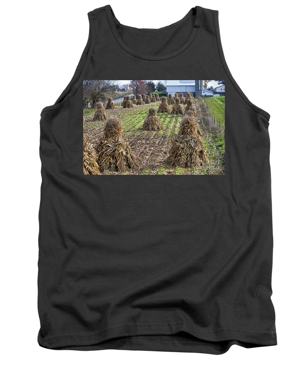 Amish Tank Top featuring the photograph Corn Shocks Amish Field by David Arment