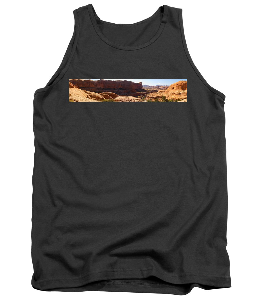 Moab Tank Top featuring the photograph Corona Arch Trail Panorama by Greg Wells