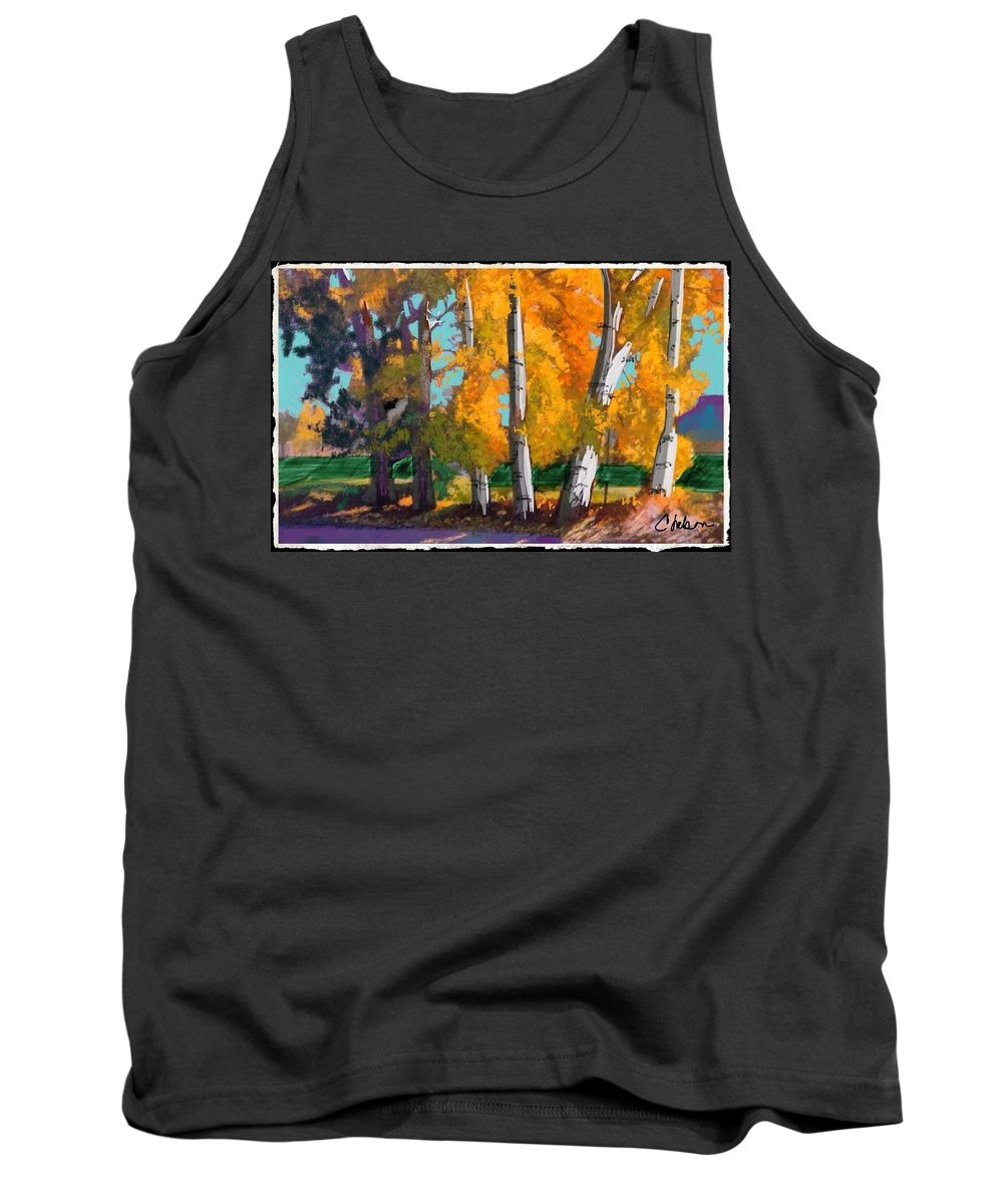 Cottonwood Trees Along The Road In The Colorado Autumn. Tank Top featuring the painting Cottonwoods by Craig Nelson
