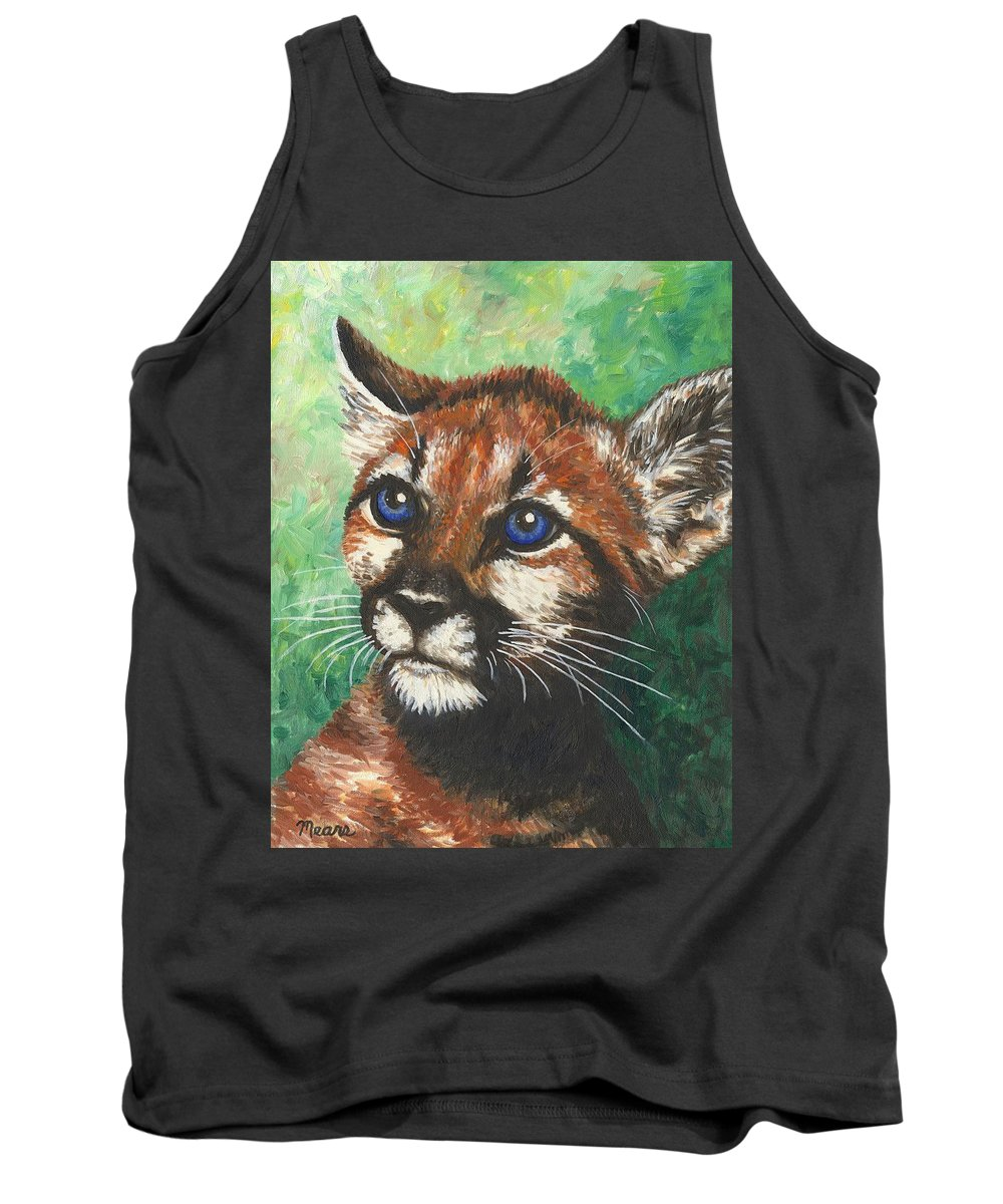 Big Cat Tank Top featuring the painting Cougar Prince by Linda Mears