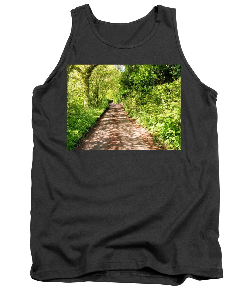 Art Tank Top featuring the mixed media Country Lane Painting by Roy Pedersen