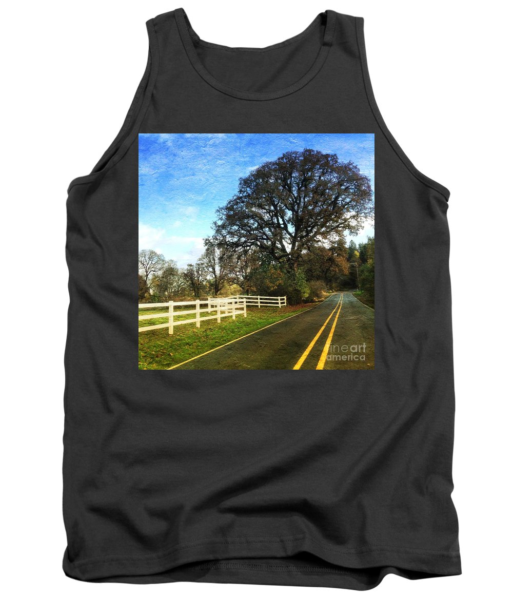 Country Tank Top featuring the photograph Country Road On Sauvie Island by Charlene Mitchell