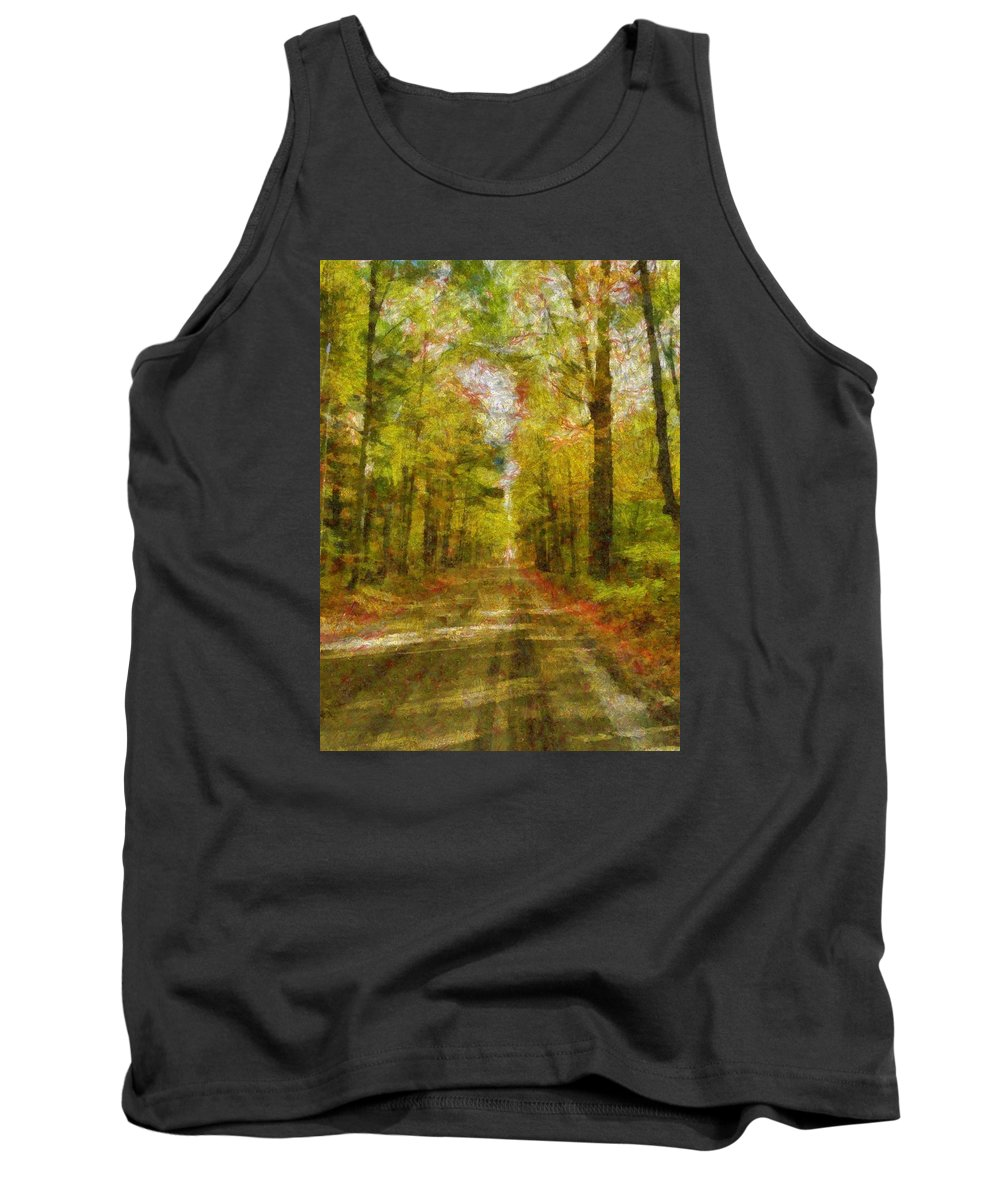 Country Road Take Me Home Tank Top featuring the digital art Country Road Take Me Home by Dan Sproul
