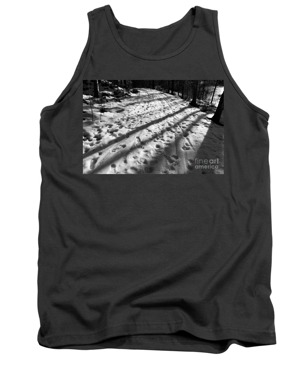 Spring Tank Top featuring the photograph Country Road With Melting Snow In Early Spring by Kerstin Ivarsson