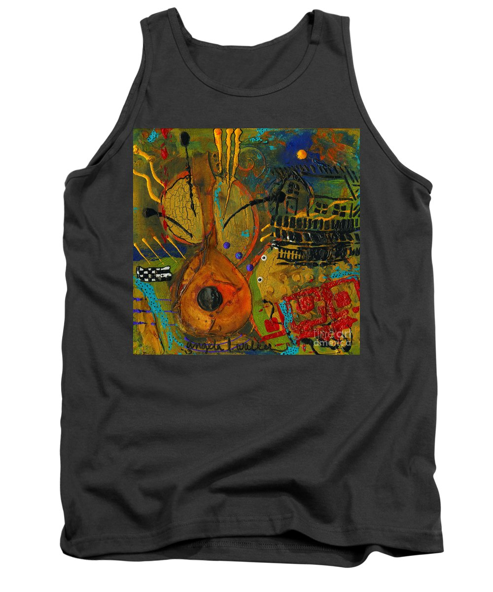 Abstract Mixed Media Tank Top featuring the painting Country Songs Playing In The Background by Angela L Walker