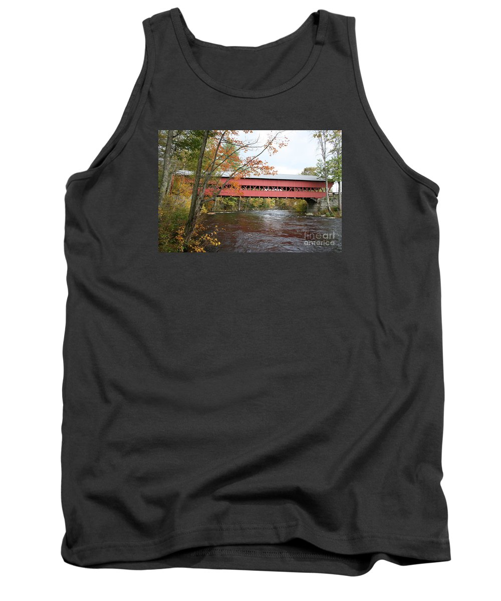 Covered Bridge Tank Top featuring the photograph Covered Bridge Over Swift River by Christiane Schulze Art And Photography