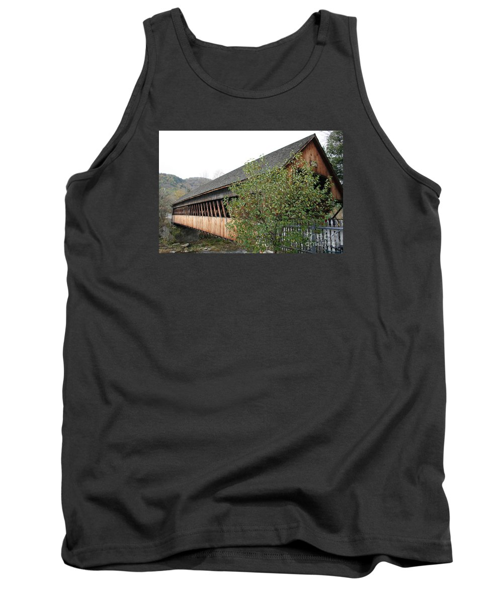 Covered Bridge Tank Top featuring the photograph Covered Bridge - Woodstock - Vermont by Christiane Schulze Art And Photography