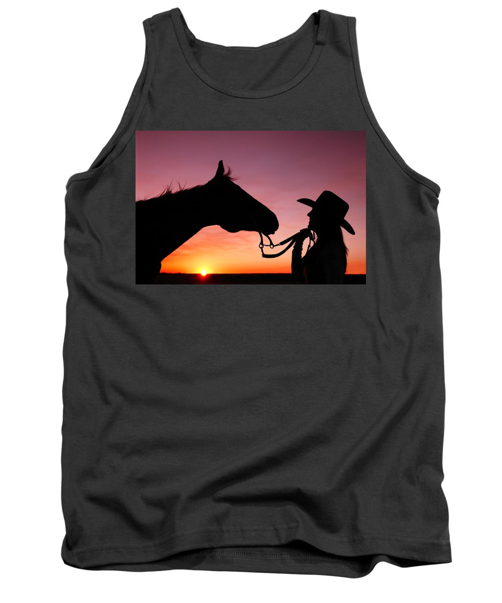 Cowgirl Tank Top featuring the photograph Cowgirl Sunset by Todd Klassy