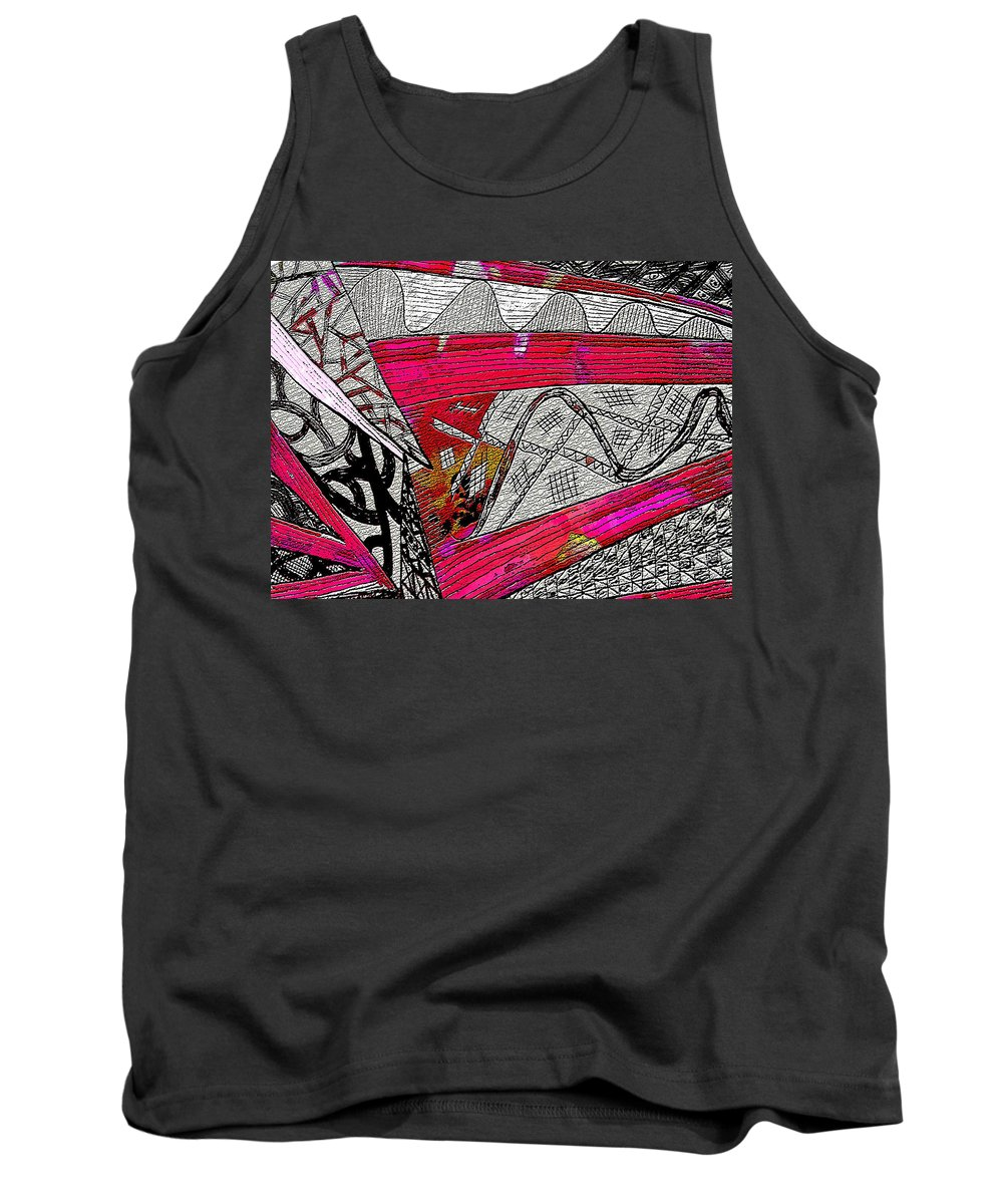 Abstract Cones. Tank Top featuring the mixed media Crazyconered by Linda Francis